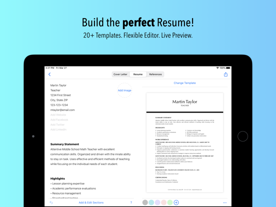Resumes by Nobody - Resume Builder, 25 Templates screenshot
