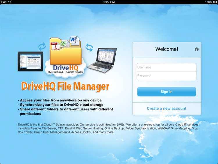 DriveHQ File Manager for iPad