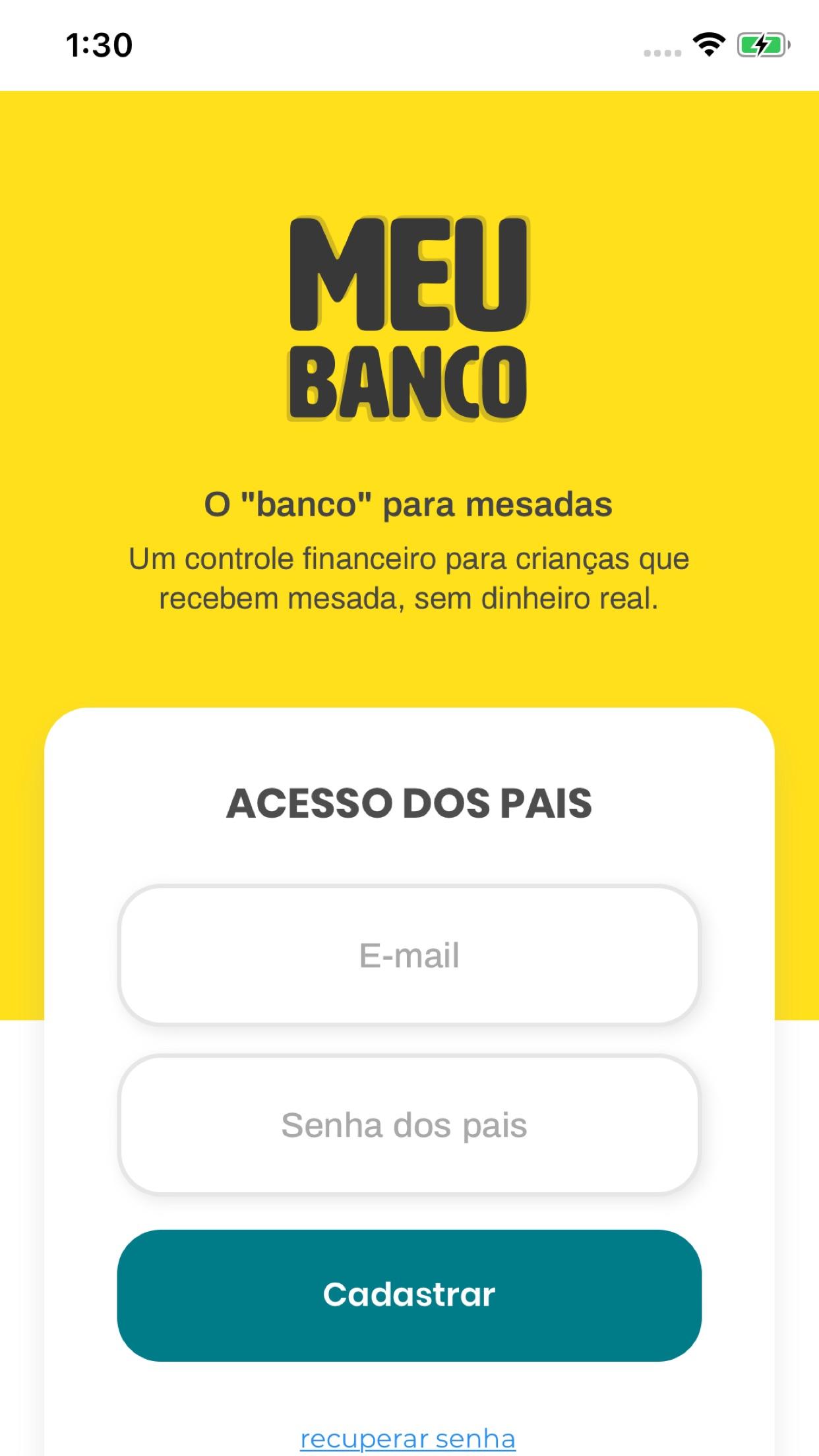 Screenshot do app O Meu Banco controle de mesada