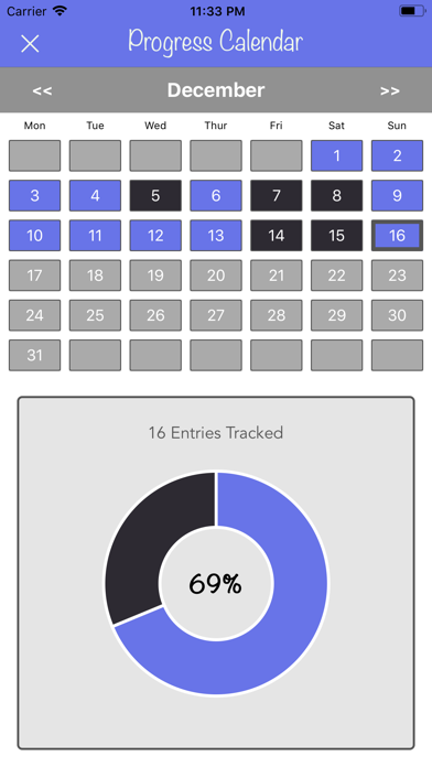 New Years Resolutions Tracker screenshot two