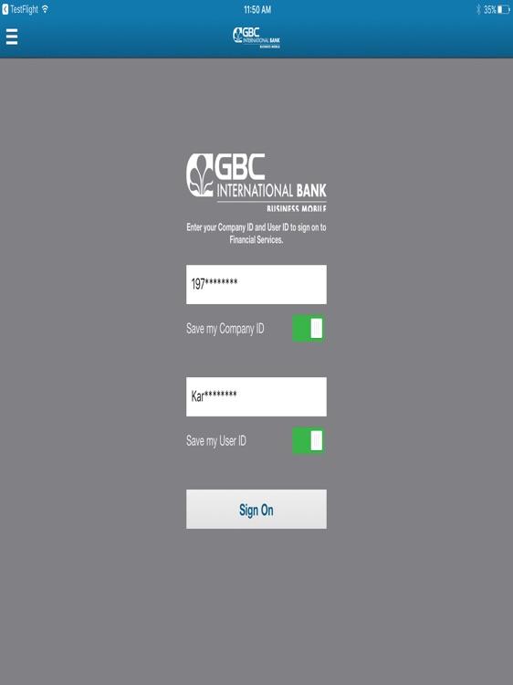 GBC Int'l Bank Business iPad