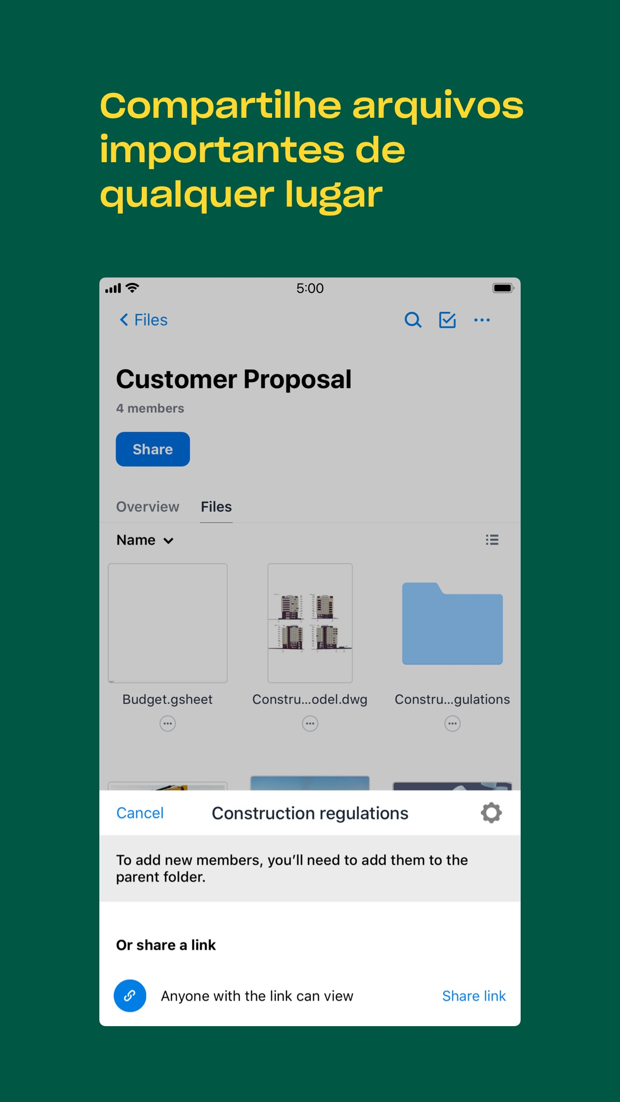 Screenshot do app Dropbox