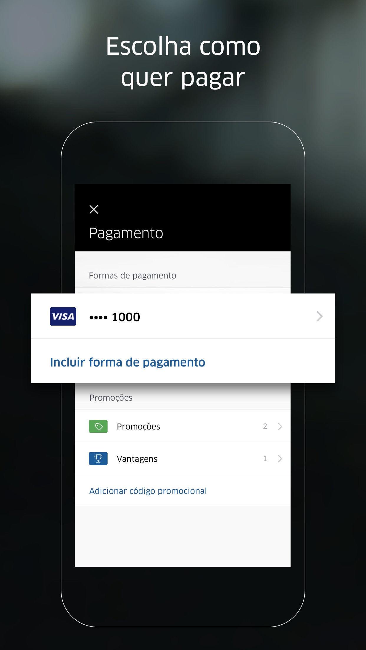 Screenshot do app Uber