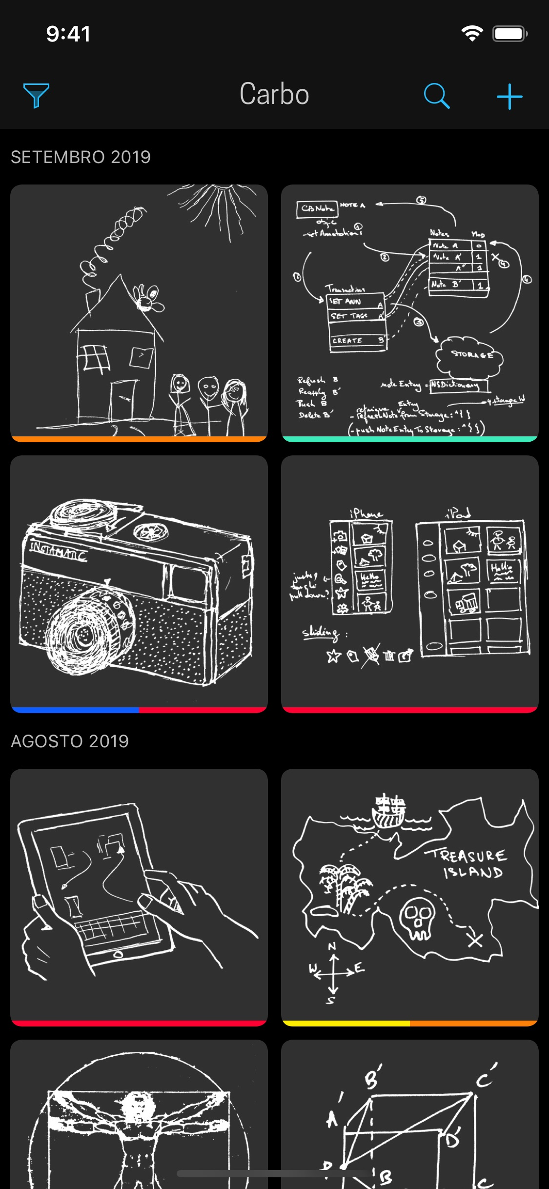 Screenshot do app Carbo › Notes & Sketches