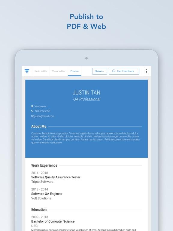 VisualCV Resume Builder screenshot