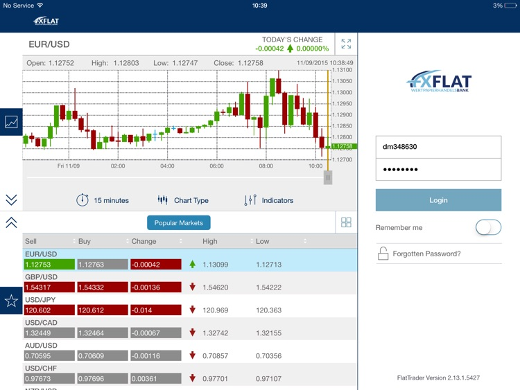 FXFlat MobileTrader for iPad