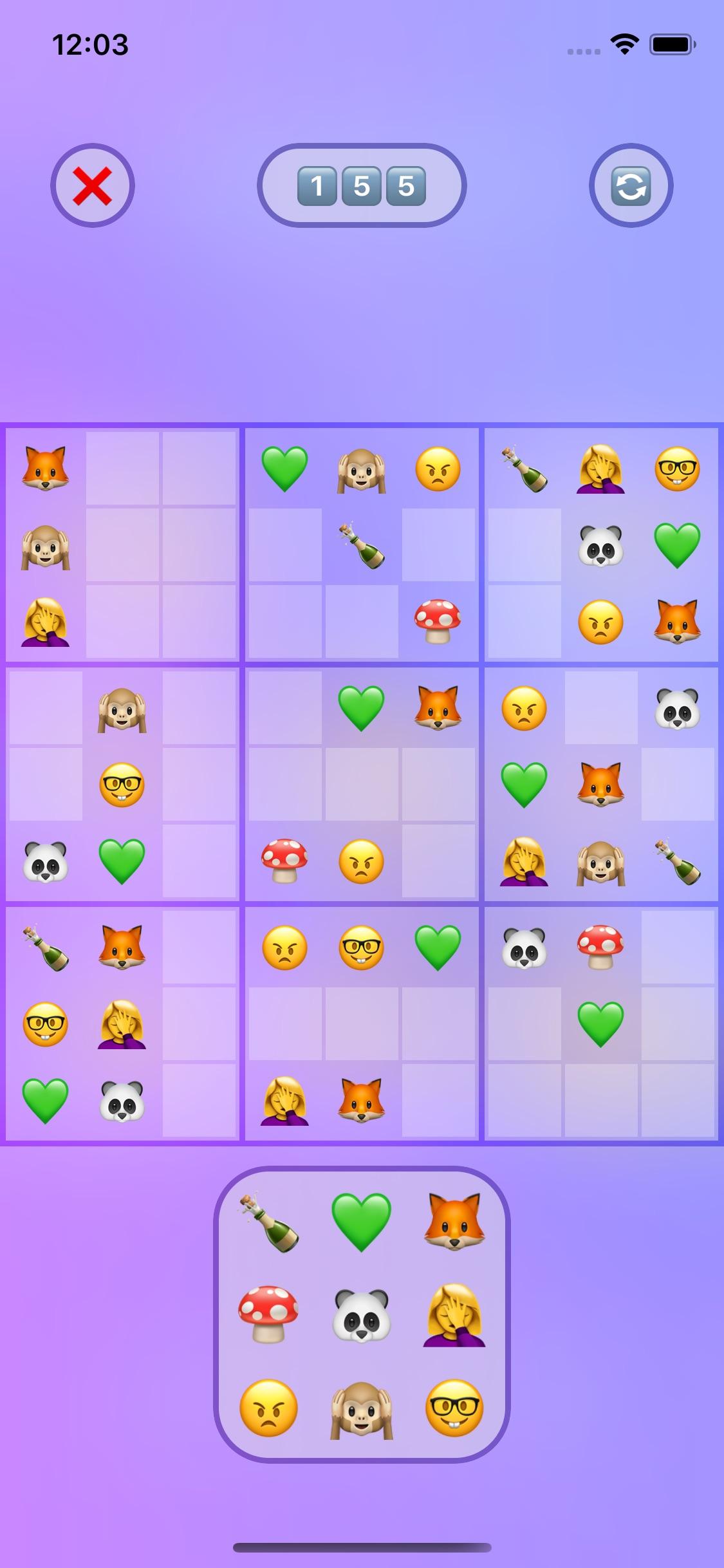 Screenshot do app Emoji Sudoku
