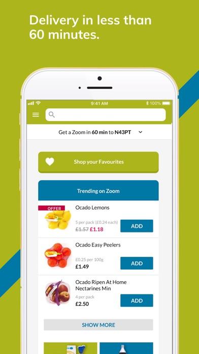 Ocado Zoom 60-minute groceries screenshot one