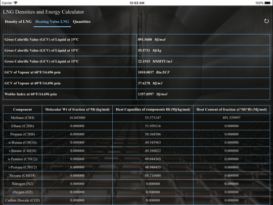 Screenshot #6 pour LNG Densities and Energy calc