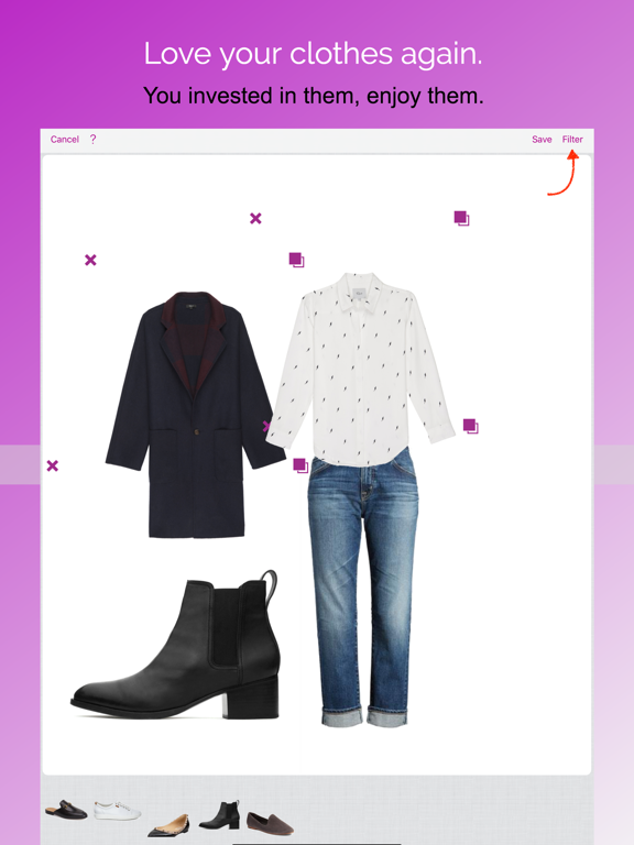iPad Image of Pureple Outfit Planner