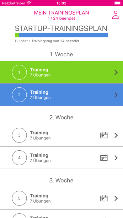 Feminin-Aktiv TrainingsplanScreenshot von 1