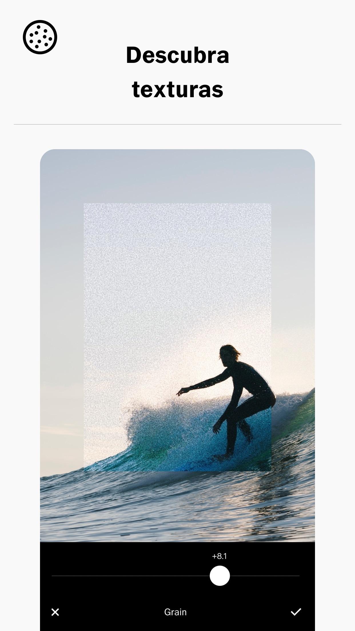 Screenshot do app VSCO: Editor de Fotos e Vídeos