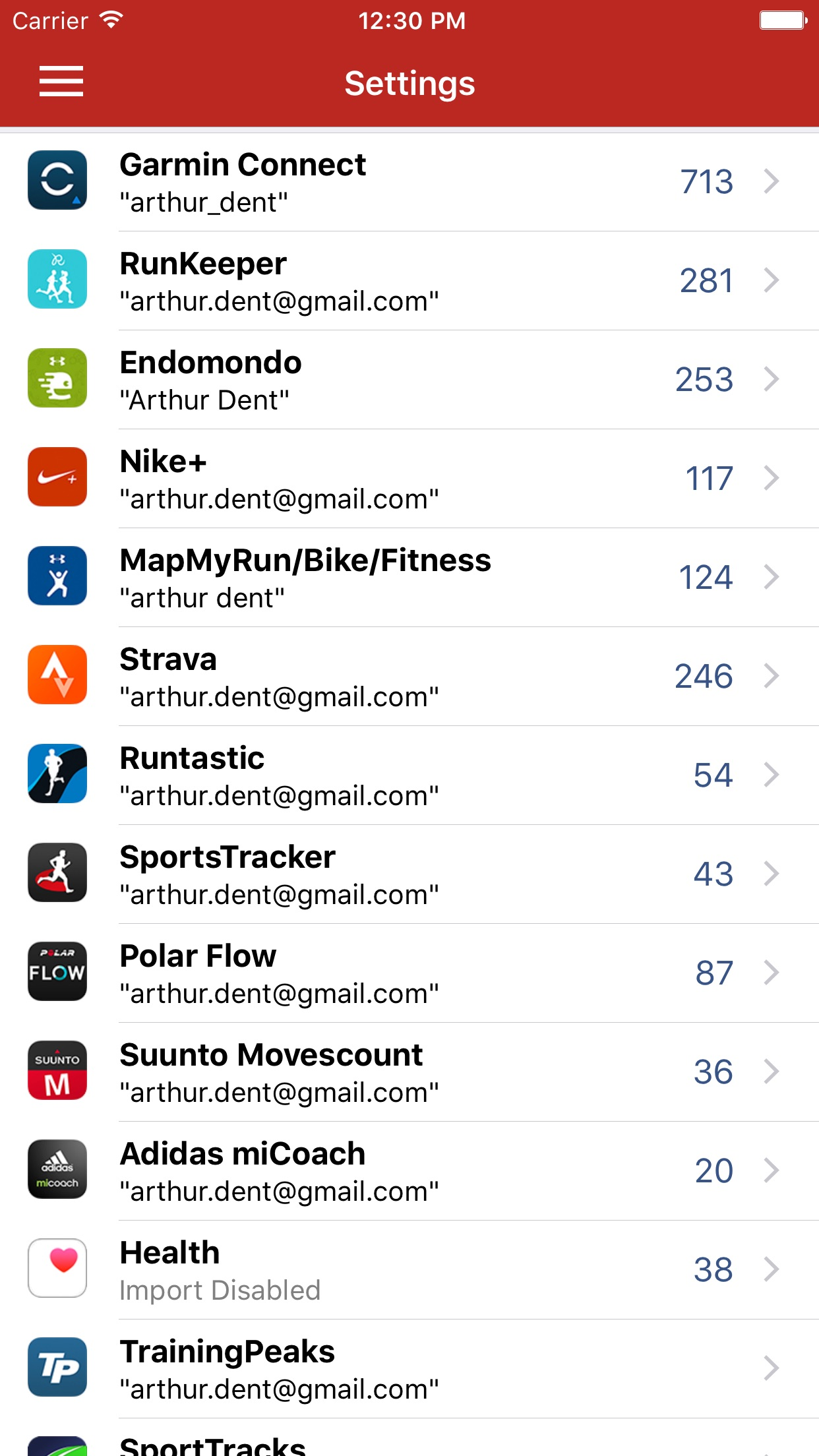 Screenshot do app RunGap - Workout Data Manager