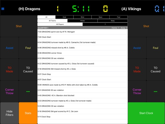 Water Polo Scorebook + Stats screenshot #1