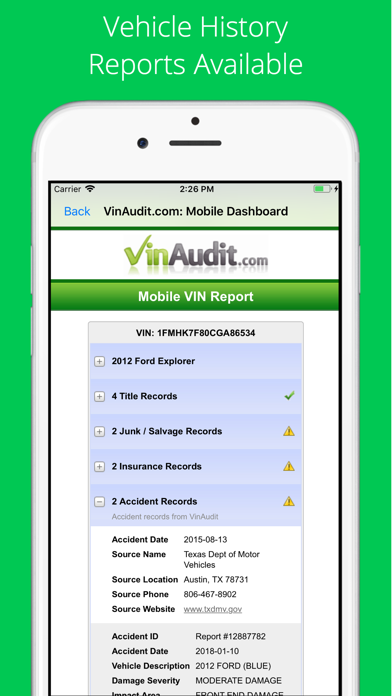 VIN Check Report for Used Cars Screenshot