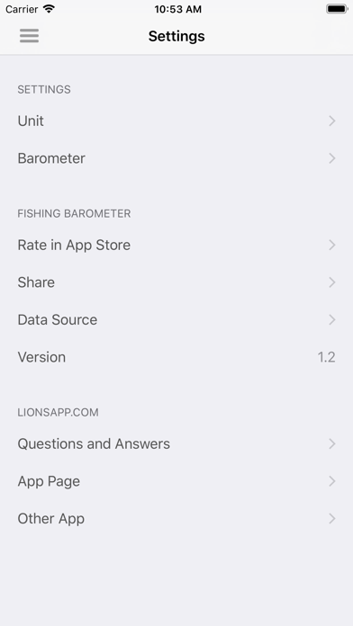 Fishing Barometer Screenshot