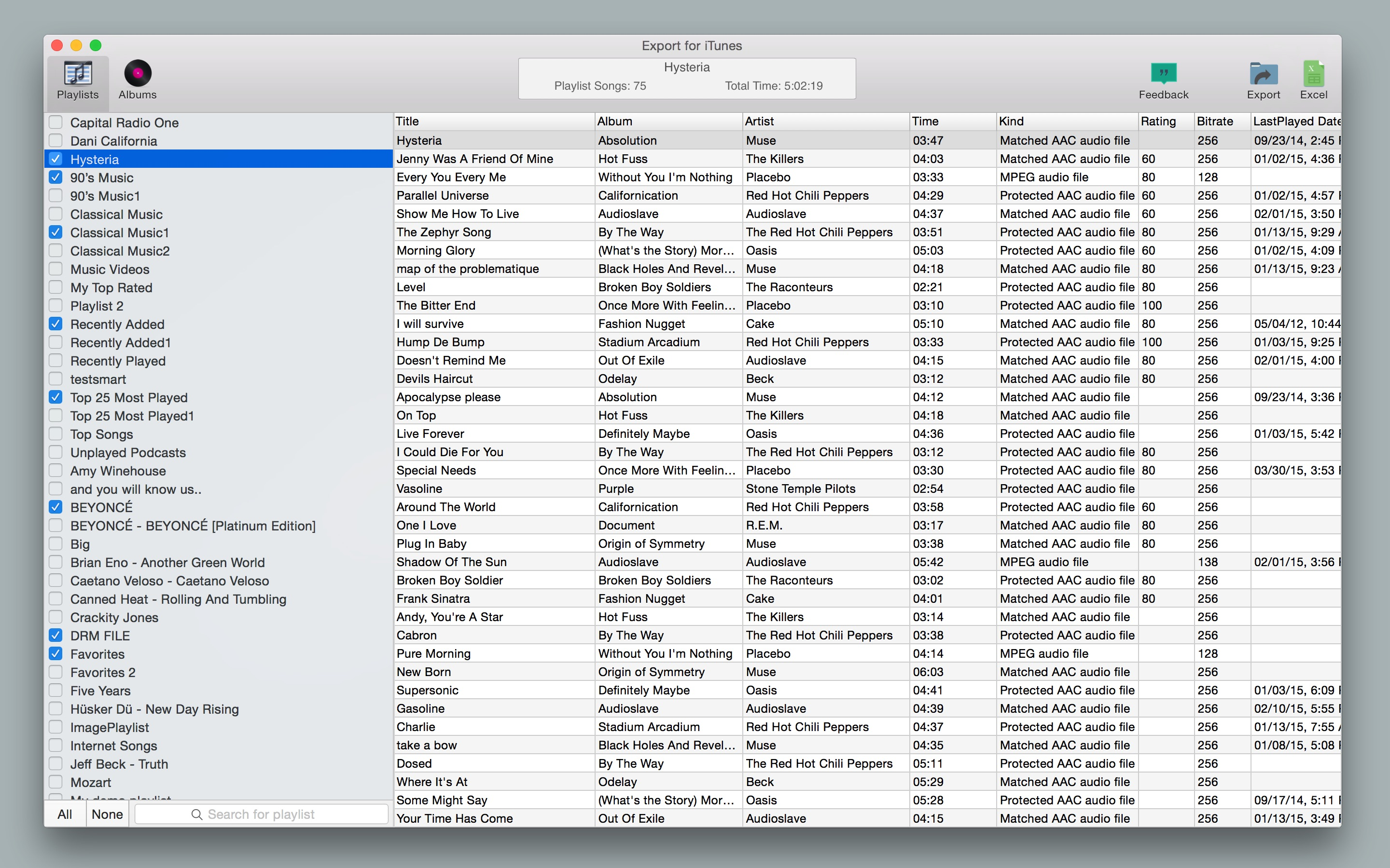 Screenshot do app Export for iTunes