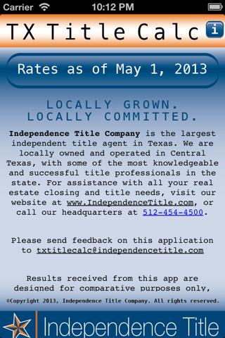 Screenshot of Texas Title Calculator