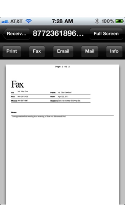 Faxing for iPhone screenshot-1