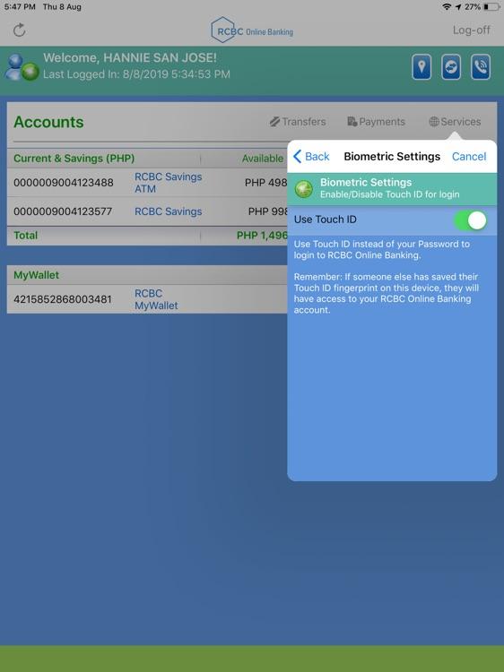 RCBC Online Banking for iPad screenshot-6