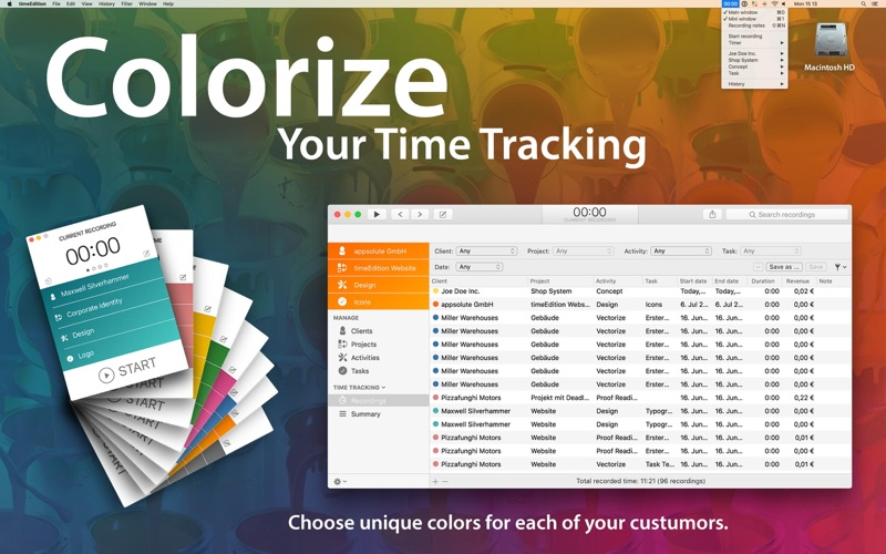 timeEdition - Time Tracking Screenshots