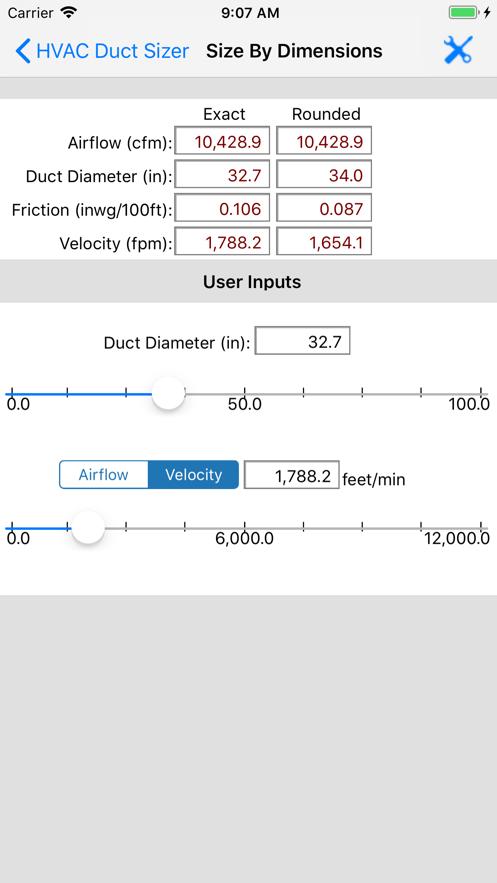 ASHRAE HVAC Duct Sizer App 截图