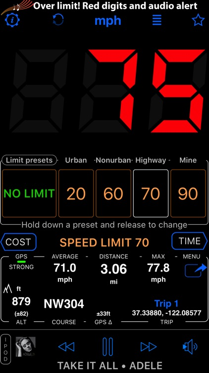 Speedometer 55 GPS Speed & HUD screenshot-3