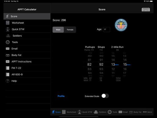 Army Fitness APFT Calculator screenshot