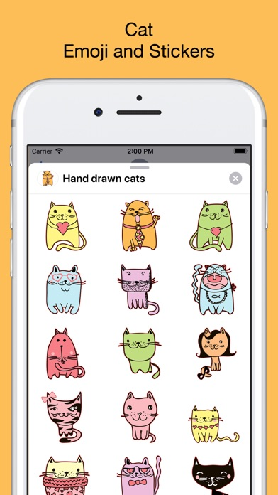 Cute cats - hand drawn emoji screenshot 1