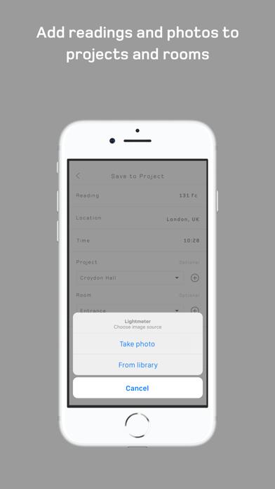 Screenshot of Whitegoods Lightmeter App