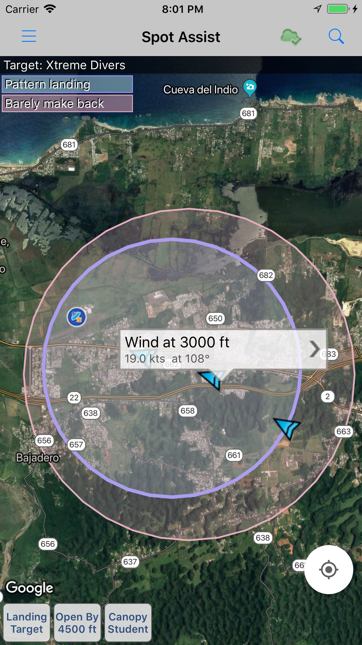 Spot Assist Skydiving Tool Screenshot