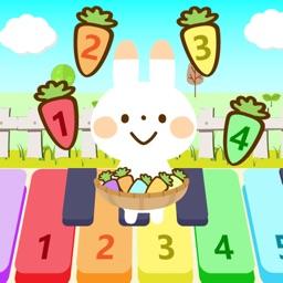 Rabbit jumping piano