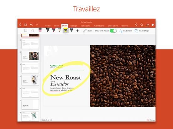 Microsoft PowerPoint iPad captures décran