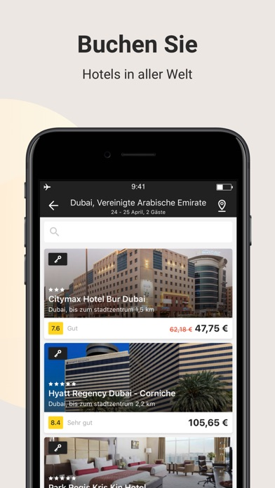 Screenshot for Hotels und Flugtickets. in Germany App Store