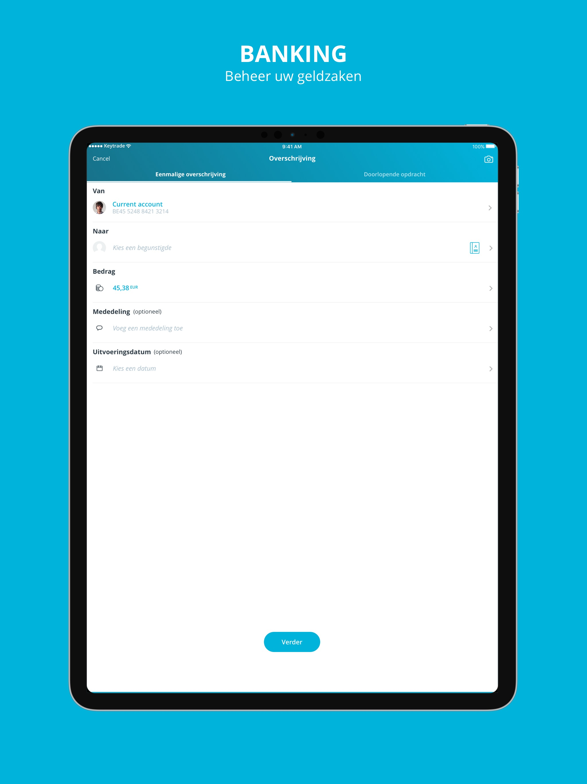 Keytrade Bank voor iPad Screenshot