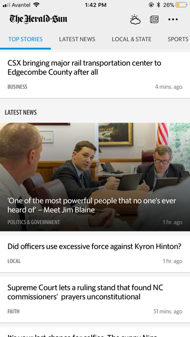 Durham Herald Sun screenshot one