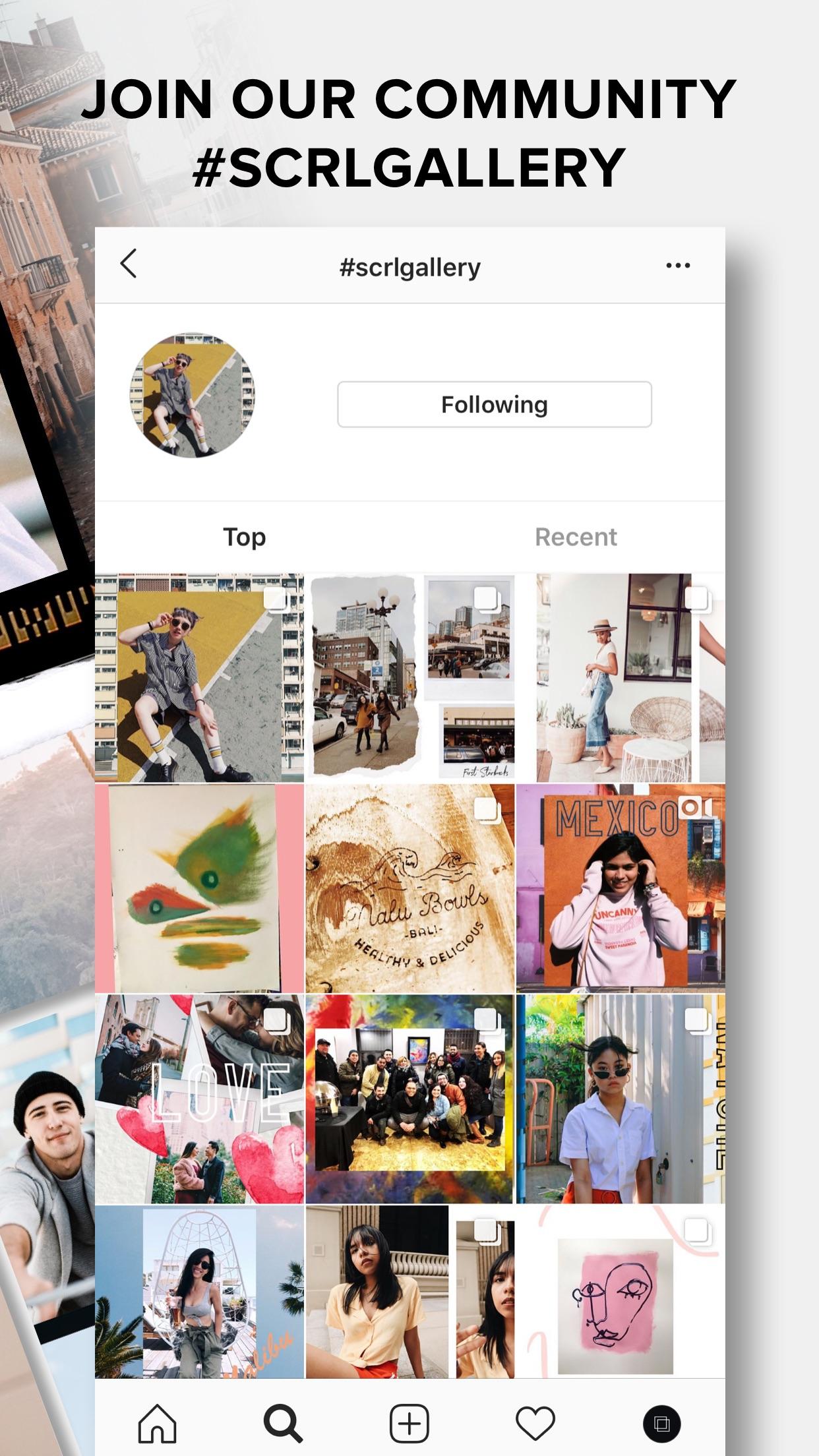 Screenshot do app SCRL - Collages for Instagram