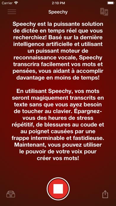 Screenshot Dictée vocale - Speechy