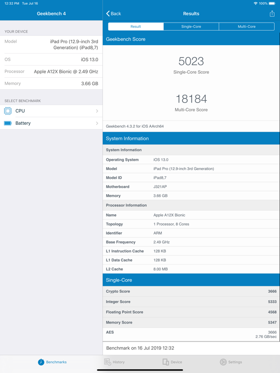 Geekbench 4 Screenshots