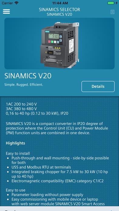 Screenshot of SINAMICS SELECTOR5