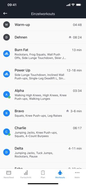 Runtastic Results Workout App Screenshot