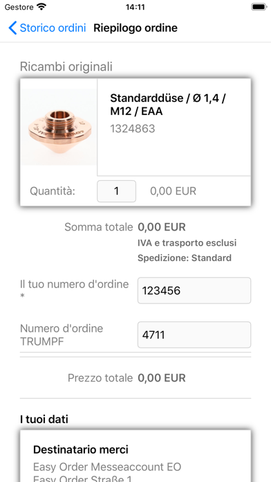 Screenshot of TRUMPF Easy Order App3
