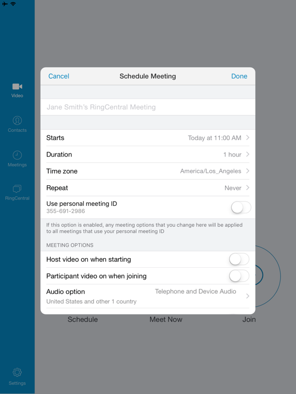 RingCentral Meetings screenshot