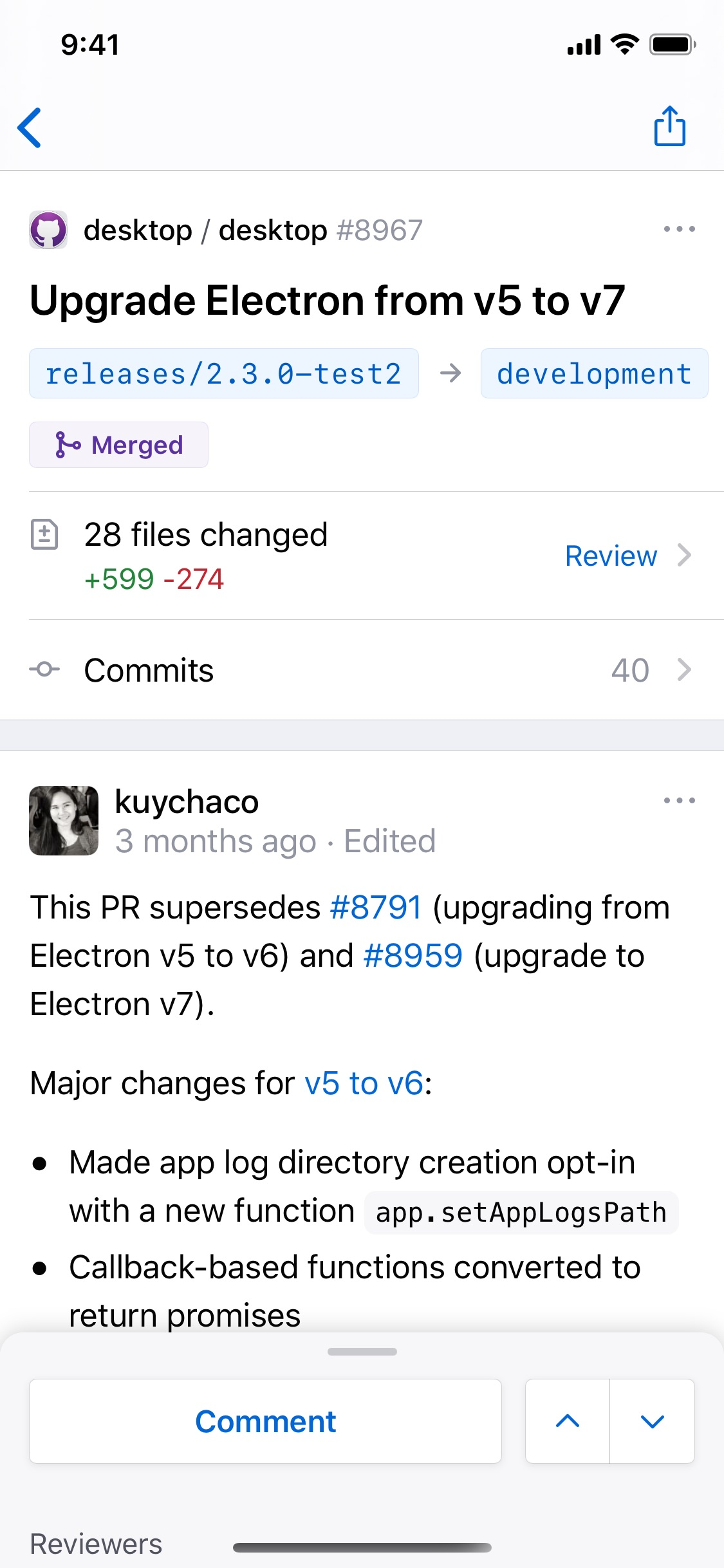 Screenshot do app GitHub
