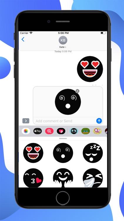 Black Funny Emoji Stickers