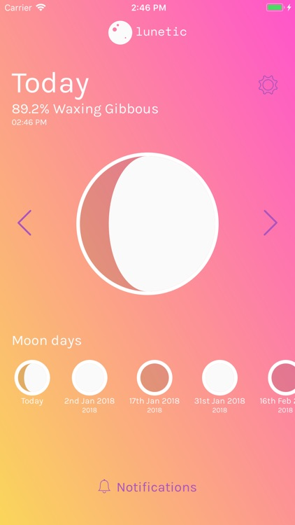 Lunetic - moon phase tracker
