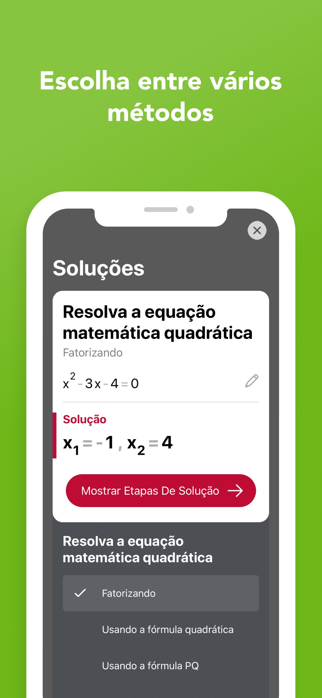 Screenshot do app Photomath