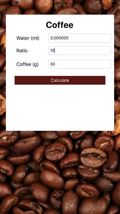 Coffee Ratio And Water Calc By Diana Ignatyeva