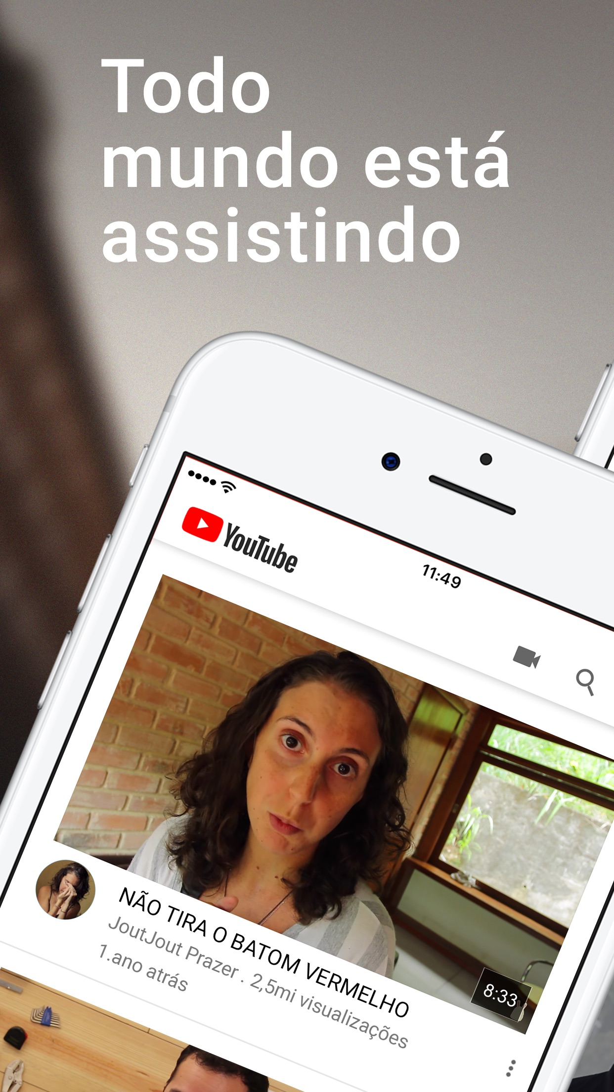 Screenshot do app YouTube