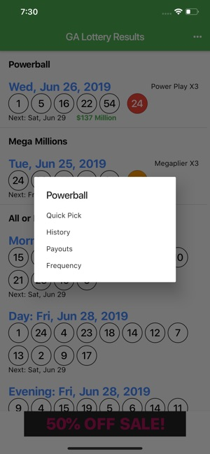 GA Lottery Results on the App Store